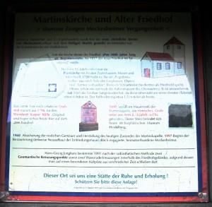 Hinweisschild am Meckesheimer alten Friedhof