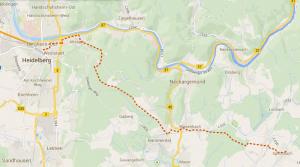 Wanderroute von Spechbach nach Heidelberg am 23.8.2014 (Klick zum Vergrößern).