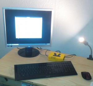 Test setup of the Banana Pi in its new case as graphical terminal with USB HID devices and DVI display attached.
