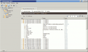 Screenshot of robomongo browsing the syslog database, showing that documents are arriving in the log collection.