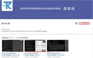 Screenshot der Startseite meines neuen Youtube-Kanals